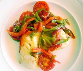 Skrei bacalao fresco con pimientos y tomates - Bacalao fresco con tomate ...